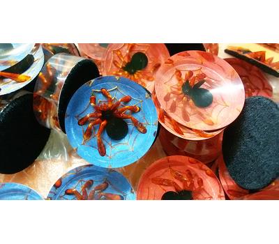 Фишки для нард из оргстекла черные пауки на паутине красный синий фон купить в интернет-магазине Нардлайн
